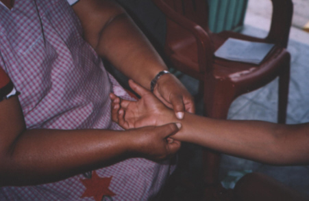 Localización del pulso en la mano